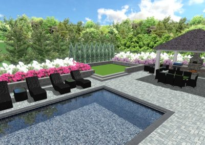 Artificial Grass Design with Hardscaping.